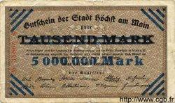 5 Millions Mark sur 1000 ALLEMAGNE Hochst 1923  TB