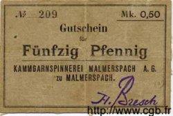 50 Pfennig ALLEMAGNE Malmerspach 1914 K.215b TTB