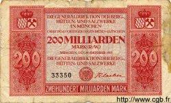 200 Milliarden Mark ALLEMAGNE  1923 Bay.279b B