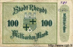 100 Milliards Mark ALLEMAGNE  1923  B+