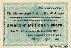 20 Millionen Mark ALLEMAGNE Wildungen 1923 K.5624e pr.NEUF