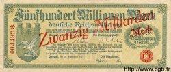 20 Milliarden Mark sur 500 Millionen ALLEMAGNE  1923 K.5816d SUP+