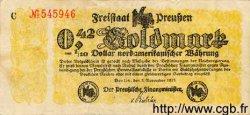 0,42 Goldmark = 1/10 Dollar ALLEMAGNE  1923 Prs.06c TTB