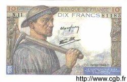 10 Francs MINEUR FRANCE  1942 F.08.04 pr.NEUF