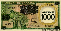 1000 Drachmes GRÈCE  1939 P.111 pr.NEUF