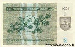 3 Talonas LITUANIE  1991 P.33b NEUF
