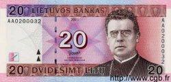 20 Litu LITUANIE  2001 P.60 NEUF