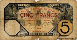 5 Francs DAKAR AFRIQUE OCCIDENTALE FRANÇAISE (1895-1958)  1922 P.05Bb AB