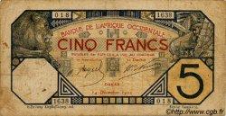 5 Francs DAKAR AFRIQUE OCCIDENTALE FRANÇAISE (1895-1958)  1922 P.05Bb B+