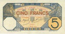 5 Francs DAKAR AFRIQUE OCCIDENTALE FRANÇAISE (1895-1958)  1924 P.05Bb TTB+