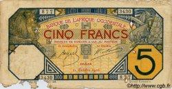 5 Francs DAKAR AFRIQUE OCCIDENTALE FRANÇAISE (1895-1958)  1926 P.05B var AB