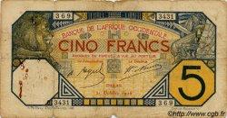 5 Francs DAKAR AFRIQUE OCCIDENTALE FRANÇAISE (1895-1958)  1926 P.05B var B