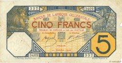 5 Francs DAKAR AFRIQUE OCCIDENTALE FRANÇAISE (1895-1958)  1926 P.05B var pr.TB