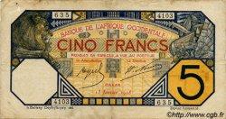 5 Francs DAKAR AFRIQUE OCCIDENTALE FRANÇAISE (1895-1958) Dakar 1928 P.05Bvar TB
