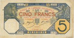 5 Francs DAKAR AFRIQUE OCCIDENTALE FRANÇAISE (1895-1958)  1928 P.05Bvar TB+