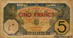 5 Francs GRAND-BASSAM AFRIQUE OCCIDENTALE FRANÇAISE (1895-1958)  1916 P.05Db B+