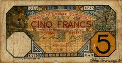 5 Francs PORTO-NOVO AFRIQUE OCCIDENTALE FRANÇAISE (1895-1958)  1919 P.05E B+