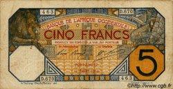 5 Francs PORTO-NOVO AFRIQUE OCCIDENTALE FRANÇAISE (1895-1958)  1919 P.05E TB+