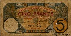 5 Francs PORTO-NOVO AFRIQUE OCCIDENTALE FRANÇAISE (1895-1958) Porto-Novo 1918 P.05E B