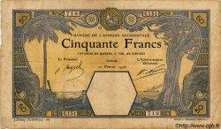 50 Francs DAKAR AFRIQUE OCCIDENTALE FRANÇAISE (1895-1958)  1926 P.09Bb pr.TB