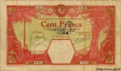 100 Francs DUALA AFRIQUE OCCIDENTALE FRANÇAISE (1895-1958) Duala 1924 P.13C var B+ à TB