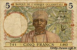 5 Francs type 1934 AFRIQUE OCCIDENTALE FRANÇAISE (1895-1958)  1934 P.21 TB