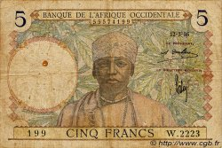 5 Francs  FRENCH WEST AFRICA (1895-1958)  1936 P.21 VG