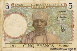5 Francs  FRENCH WEST AFRICA  1936 P.21