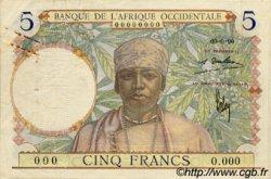 5 Francs type 1934 AFRIQUE OCCIDENTALE FRANÇAISE (1895-1958)  1934 P.21s TTB+