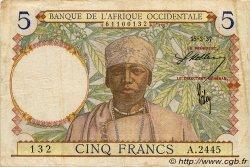 5 Francs AFRIQUE OCCIDENTALE FRANÇAISE (1895-1958)  1937 P.21 TTB