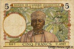 5 Francs type 1934 AFRIQUE OCCIDENTALE FRANÇAISE (1895-1958)  1938 P.21 TB