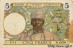 5 Francs AFRIQUE OCCIDENTALE FRANÇAISE (1895-1958)  1939 P.21 TB