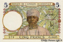 5 Francs FRENCH WEST AFRICA  1939 P.21 aUNC