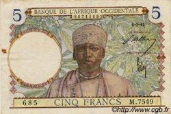 5 Francs type 1934 AFRIQUE OCCIDENTALE FRANÇAISE (1895-1958)  1941 P.21 TTB
