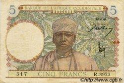 5 Francs AFRIQUE OCCIDENTALE FRANÇAISE (1895-1958)  1942 P.25 TTB
