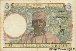 5 Francs type 1934 AFRIQUE OCCIDENTALE FRANÇAISE (1895-1958)  1942 P.25 pr.TTB