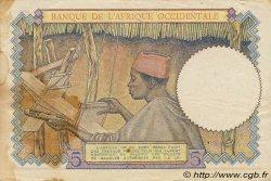 5 Francs AFRIQUE OCCIDENTALE FRANÇAISE (1895-1958)  1943 P.26 pr.TTB