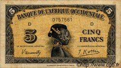 5 Francs type 1942 AFRIQUE OCCIDENTALE FRANÇAISE (1895-1958)  1942 P.28a TB
