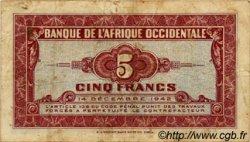 5 Francs AFRIQUE OCCIDENTALE FRANÇAISE (1895-1958)  1942 P.28a TB