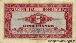 5 Francs AFRIQUE OCCIDENTALE FRANÇAISE (1895-1958)  1942 P.28a TTB