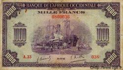 1000 Francs AFRIQUE OCCIDENTALE FRANÇAISE (1895-1958)  1942 P.32 TB à TTB