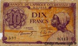 10 Francs type 1943 AFRIQUE OCCIDENTALE FRANÇAISE (1895-1958)  1943 P.29 B
