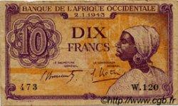 10 Francs type 1943 AFRIQUE OCCIDENTALE FRANÇAISE (1895-1958)  1943 P.29 TB