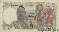5 Francs AFRIQUE OCCIDENTALE FRANÇAISE (1895-1958)  1943 P.36 TTB