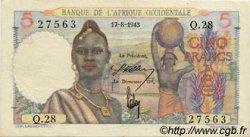 5 Francs type 1943 AFRIQUE OCCIDENTALE FRANÇAISE (1895-1958)  1943 P.36 TTB+