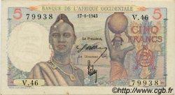 5 Francs AFRIQUE OCCIDENTALE FRANÇAISE (1895-1958)  1943 P.36 SUP+