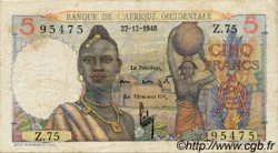 5 Francs type 1943 AFRIQUE OCCIDENTALE FRANÇAISE (1895-1958)  1948 P.36 TB