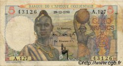 5 Francs AFRIQUE OCCIDENTALE FRANÇAISE (1895-1958)  1950 P.36 TB