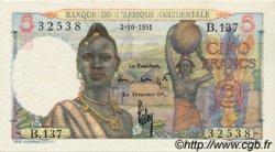 5 Francs AFRIQUE OCCIDENTALE FRANÇAISE (1895-1958)  1951 P.36 pr.NEUF