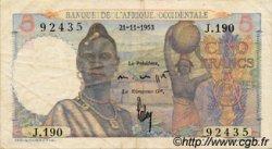 5 Francs AFRIQUE OCCIDENTALE FRANÇAISE (1895-1958)  1953 P.36 TTB